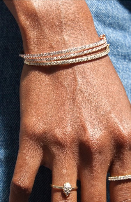 Carbon & Hyde Classic Diamond Bangle Bracelet - Rose Gold