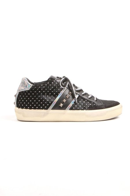 Leather Crown Donna Iconic Midtop - Black/Silver