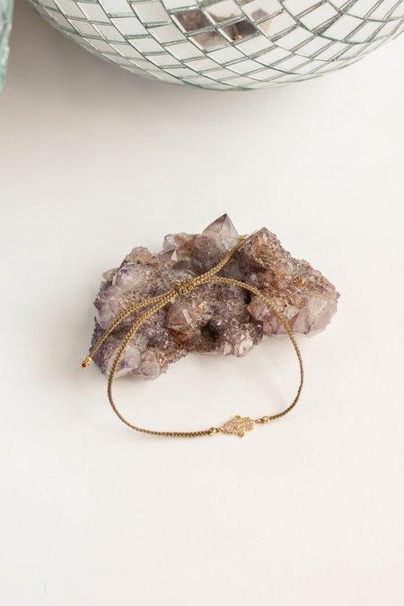 TAI Braided Nylon With Gold CZ Hamsa Bracelet