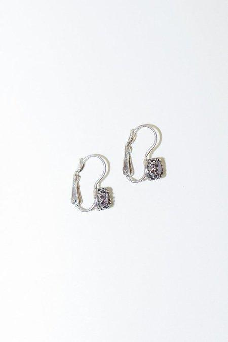 Becky Kelso Round Rhodolite Garnet on Earring Clips - Sterling Silver