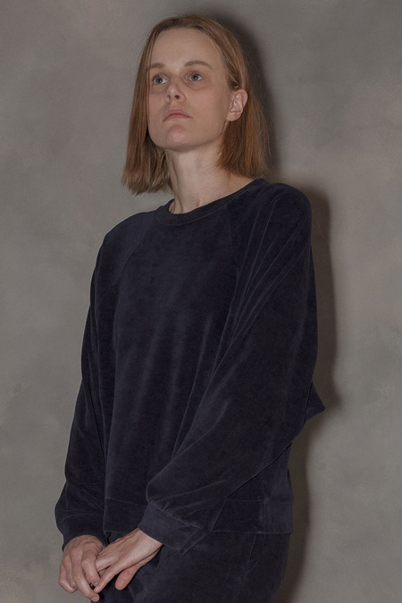Baserange Velour Sweatshirt - Midnight Blue