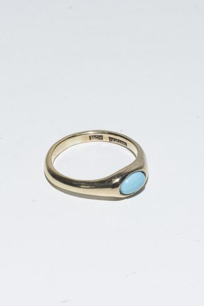Nikolai Rose 14K Turquoise Round Set Ring