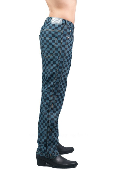 Andrea Crews Denjen Pants - Blue/Black Check