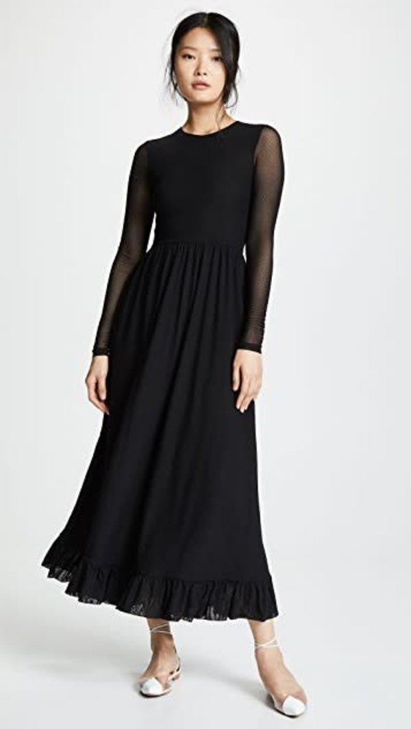 Ganni Dot Mesh Dress Black Garmentory