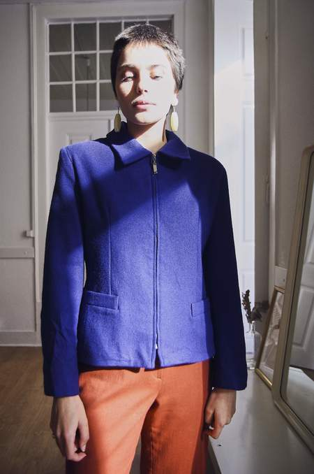Bird On A Wire Vintage Wool Tailored Jacket - Cobalt