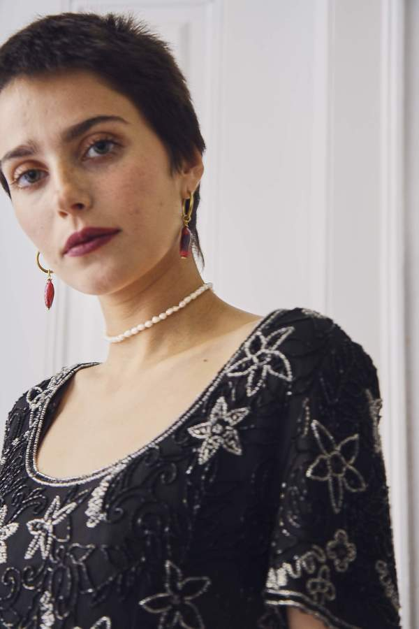 Bird On A Wire Vintage 80s Sequin Silk Top - Black