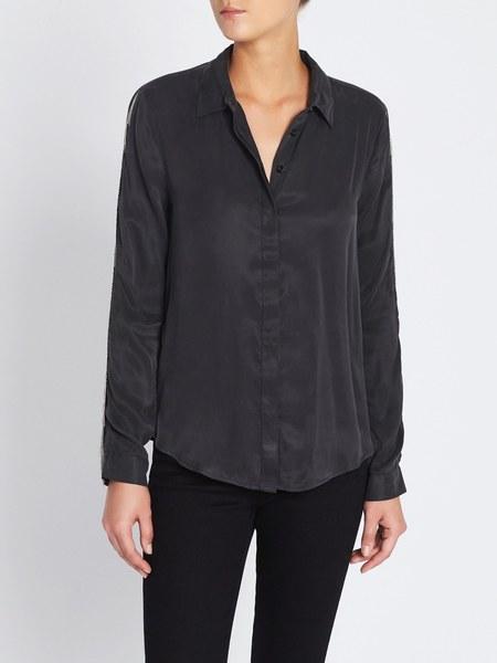Zoe Karssen Fringe Detail Relaxed Fit Woven Shirt - black