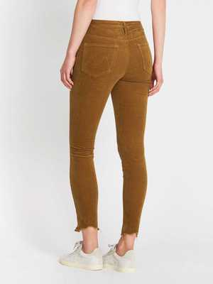 Mother Denim High Waisted Looker Ankle Chew Jean - Okra