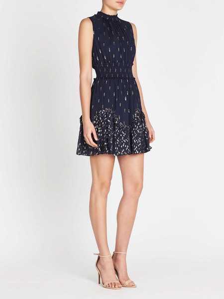Rebecca Taylor Mixed Metallic Clip Smocked Dress - Blueberry