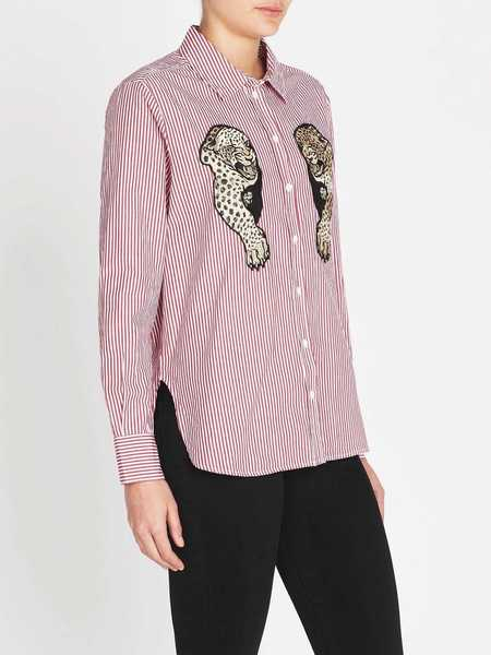 Zoe Karssen Panther Loose Fit Patch Shirt - Red/Opitcal White
