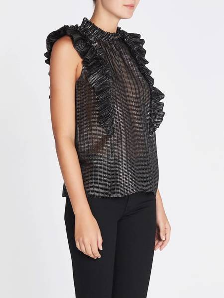 Rebecca Taylor Plaid Pleat Top - Black