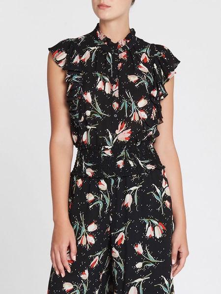 Rebecca Taylor Short Sleeve Ikat Ruffle Top - Floral Printed