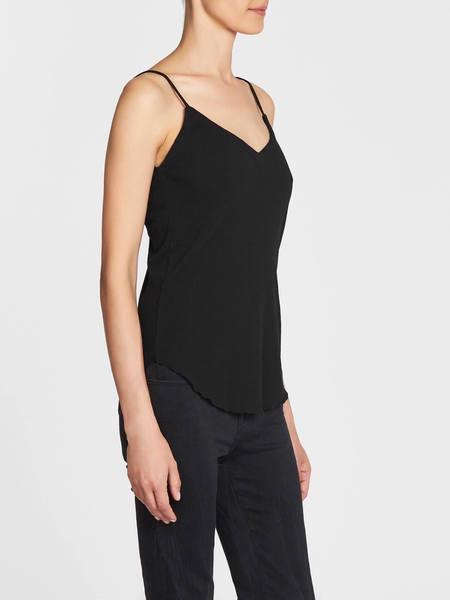 Chaser LA Double V Neck Shirt Tail Rib Cami - Black