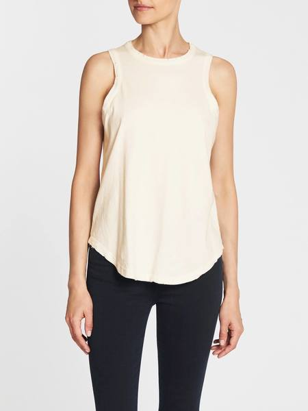 Chaser LA Crew Neck Shirt Tail Muscle Tank - Off White