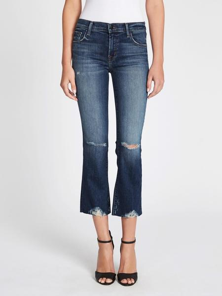 J Brand Selena Mid Rise Crop Boot Jeans - Blue