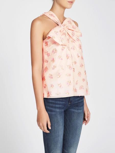 Rebecca Taylor Floral Jacquard Bow Top - Pinkish Cream