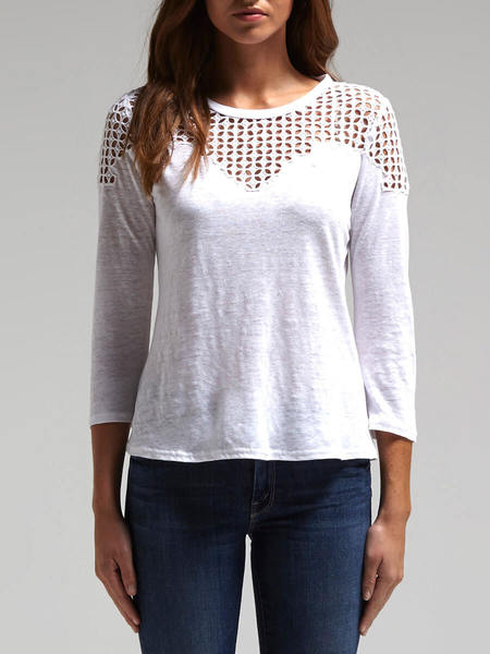 Rebecca Taylor Long Sleeved Linen Lace Tee - White