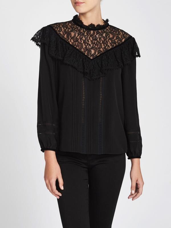 0dc12d290d1362 Rebecca Taylor Silk   Lace Top With Velvet Trim Blouse - Black ...
