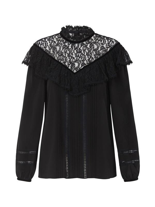 c47fc87cdccf1a Rebecca Taylor Silk   Lace Top With Velvet Trim Blouse - Black.   341.00 170.00. Rebecca Taylor