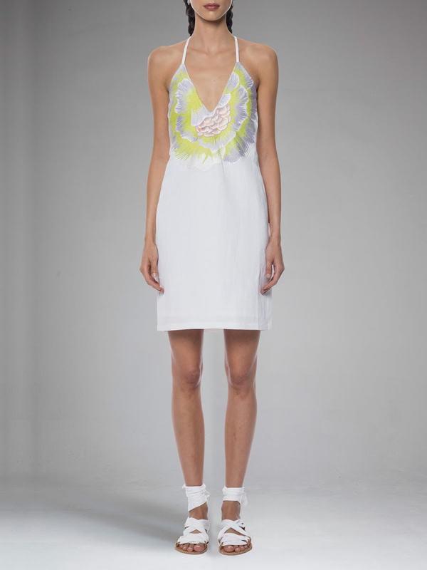 Mara Hoffman Flower Embroidered V Neck Dress