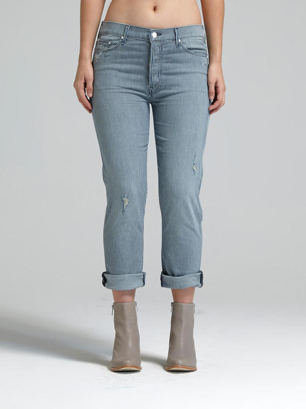 Mother denim the vagabond crop jean - on the road destroy
