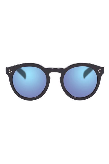 Illesteva -  Leonard II Matte Black with Blue Lenses