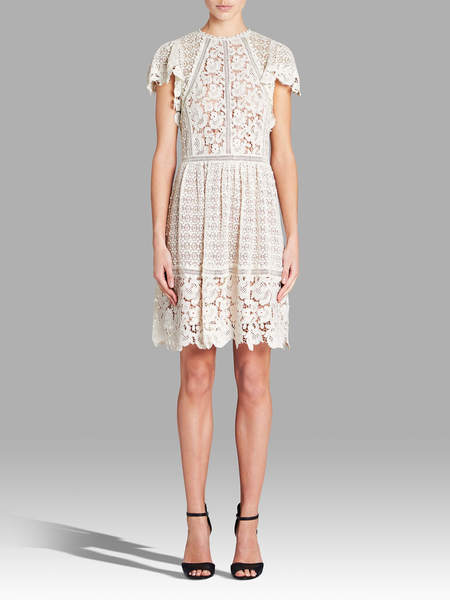 Rebecca Taylor Short Sleeved Lace Mix Dress