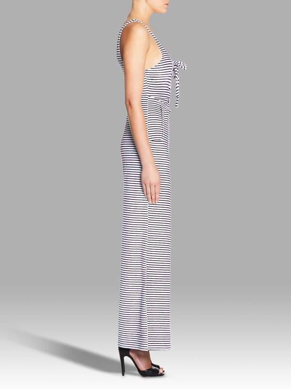 Mara Hoffman Stripe Lace Up Front Jumpsuit - Navy/White