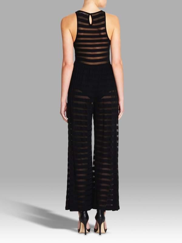 Mara Hoffman Mesh Stripe Jumpsuit - Black