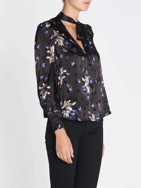 Rebecca Taylor Violet Satin Burnout Scarf Neck Top - Floral