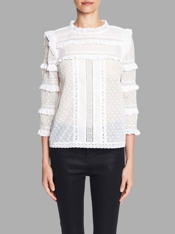 57e9727f9e6e Rebecca Taylor Long Sleeve Moon Dot Embroidered Top | Garmentory