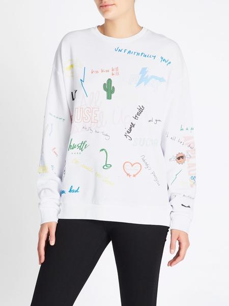 Zoe Karssen Scribble All Over Relaxed Fit Cropped Sweat - white