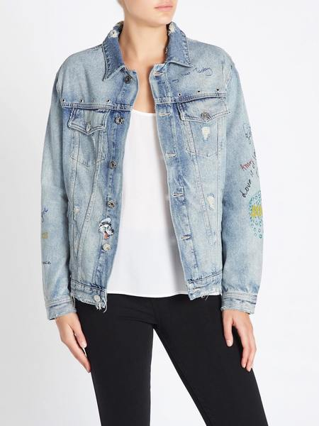 Zoe Karssen Obsession Embroidered Denim Jacket - Light Denim