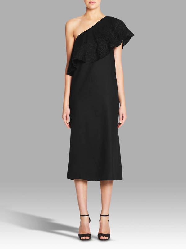 Mara Hoffman Black Embroidery Shoulder Dress - Black
