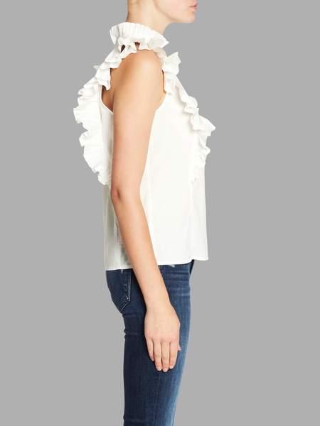 Rebecca Taylor Poplin Pleat Top - White