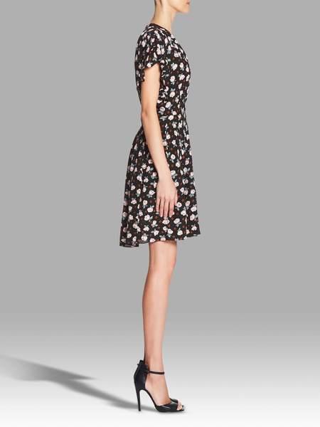 Rebecca Taylor Short Sleeve Rosalie V Neck Dress - Floral Printed