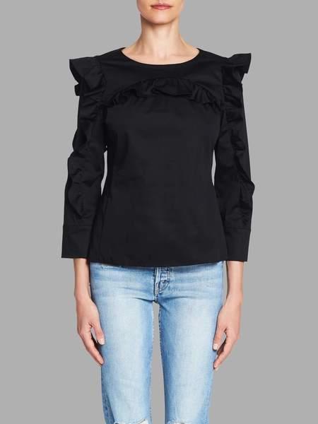 Rebecca Taylor Long Sleeve Cotton Ruffle Top