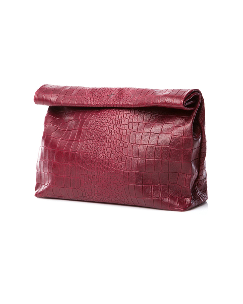 Marie Turnor Lunch Clutch in Croc Embossed Marsala Leather