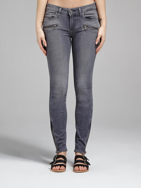 Paige Jane Zip Crop Jean - Light Grey