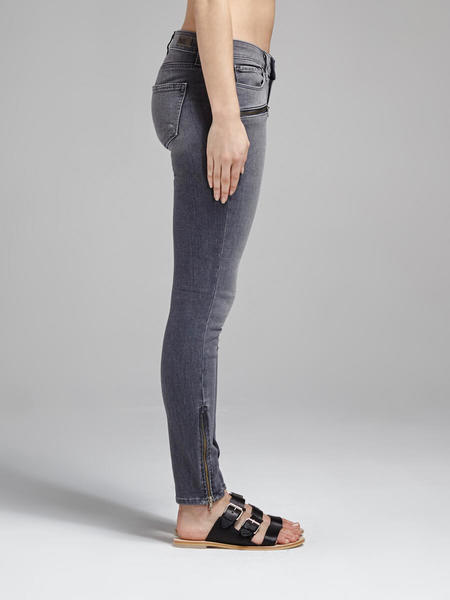 Paige Jane Zip Crop Jean - Light Grey
