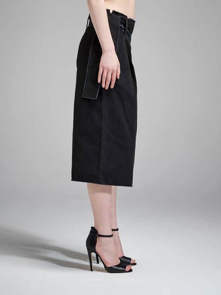 N / Nicholas Cotton Canvas Wide Culotte - Black