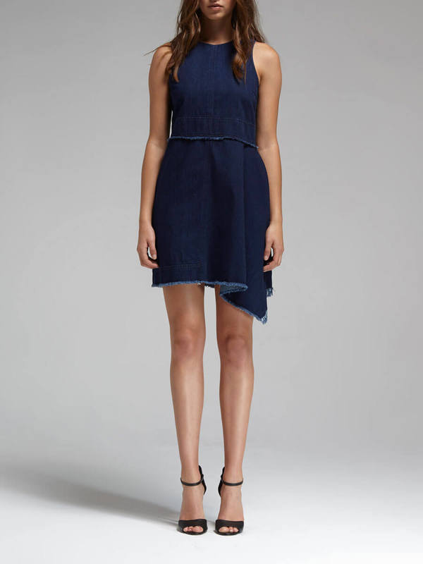 cd87f82eba N   Nicholas Denim Flare Side Sleeveless Dress - Mid Blue
