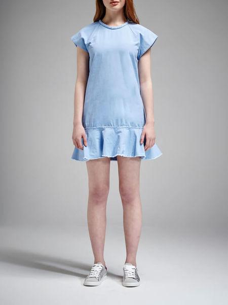 Nicholas The Label Cotton Canvas Bias Flare Dress - Light Blue
