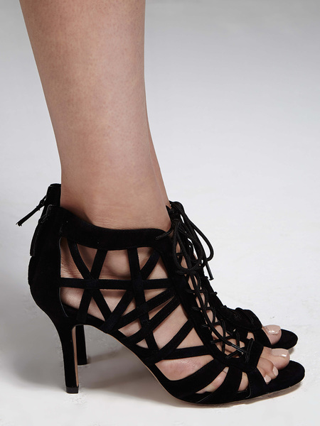Pour la Victoire Charlize Lattice Pump - Black