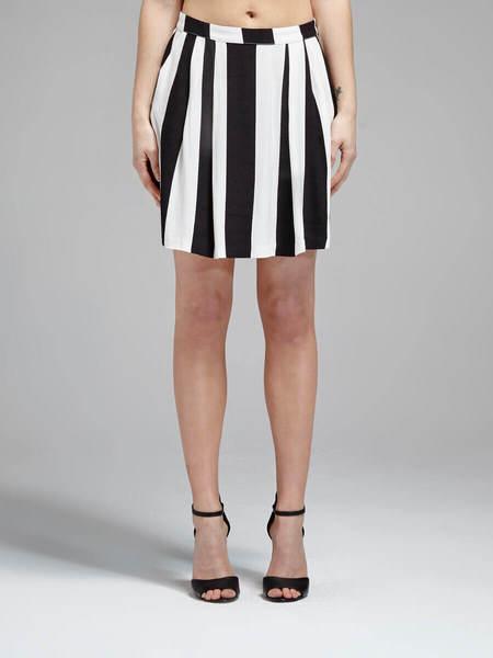 american vintage Meli City Skirt - BLACK/WHITE STRIPE