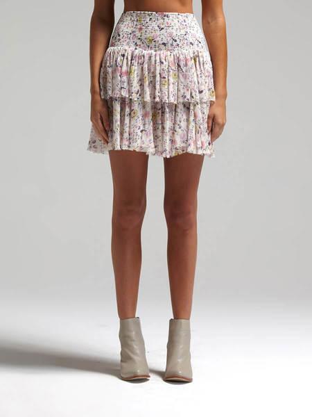 Rebecca Taylor Tapestry Grid Skirt - Floral Print