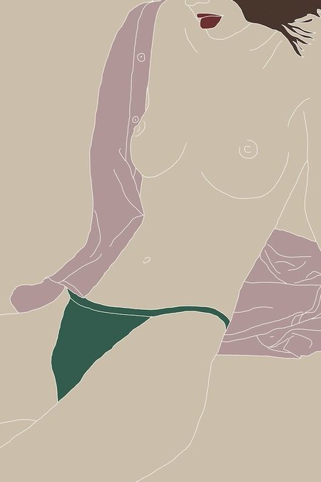 Drawn By Cave Kera Print - Nude/Green