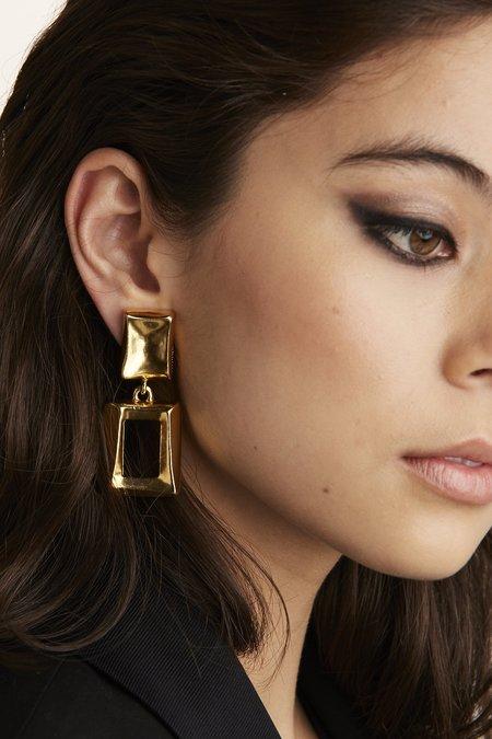 VINTAGE Celine Valetta Earrings - GOLD