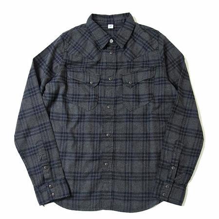 Pure Blue Japan Check Flannel Western Shirt - Grey Indigo