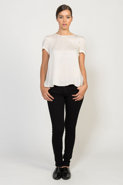 Rebecca Taylor Hammered Silk Pleat Top